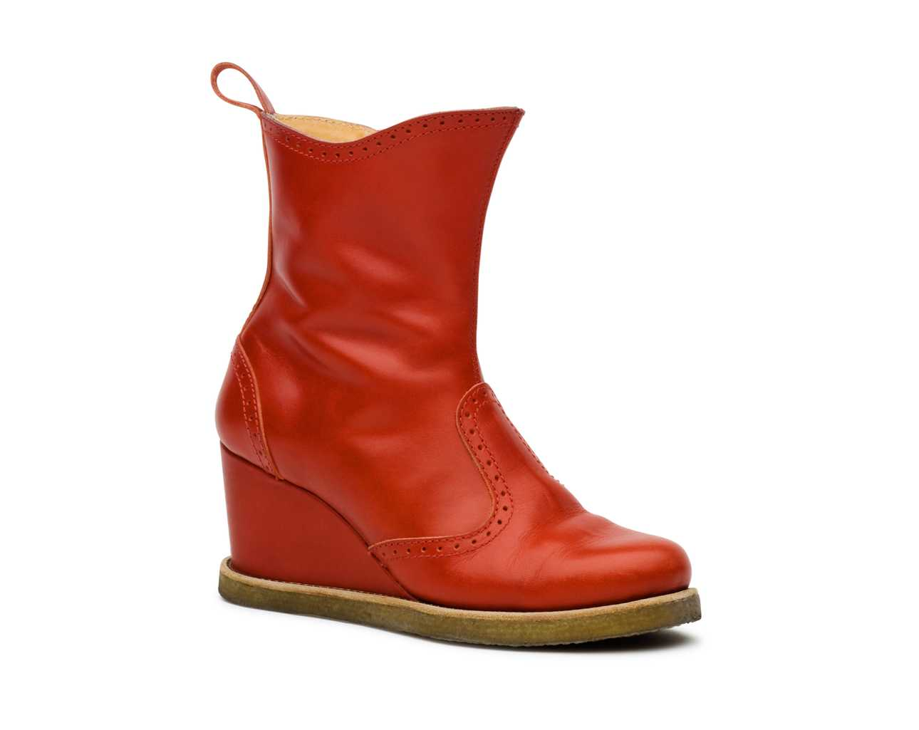 Victorian Wedge Boot Red