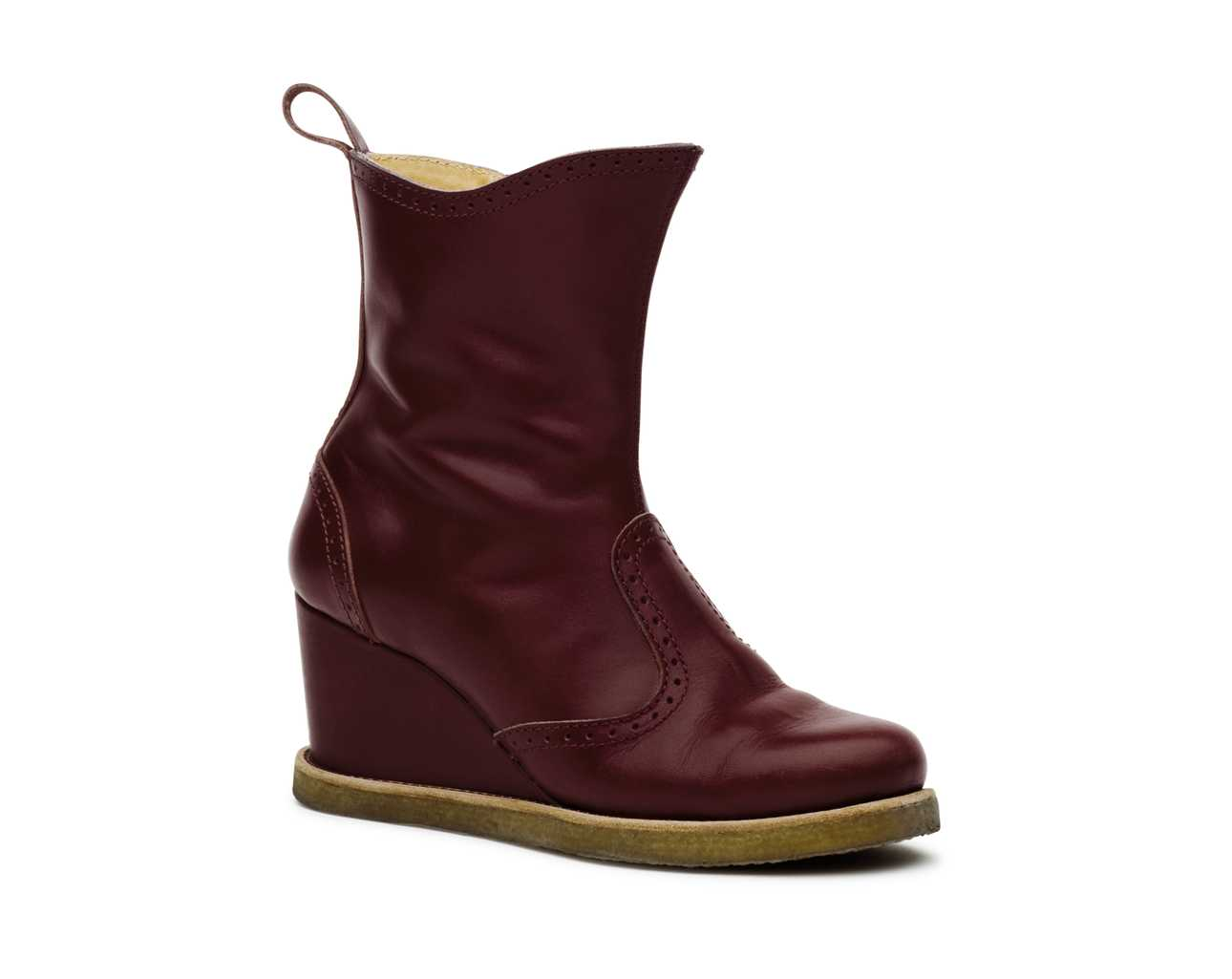 Victorian Wedge Boot Bordeaux