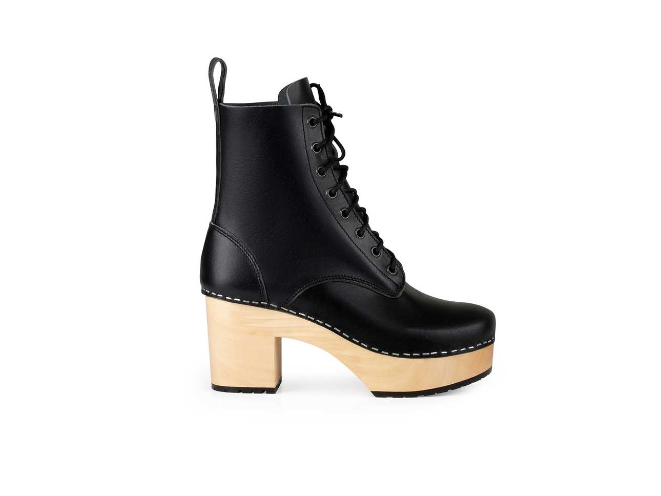 Lace Up Plateau Black
