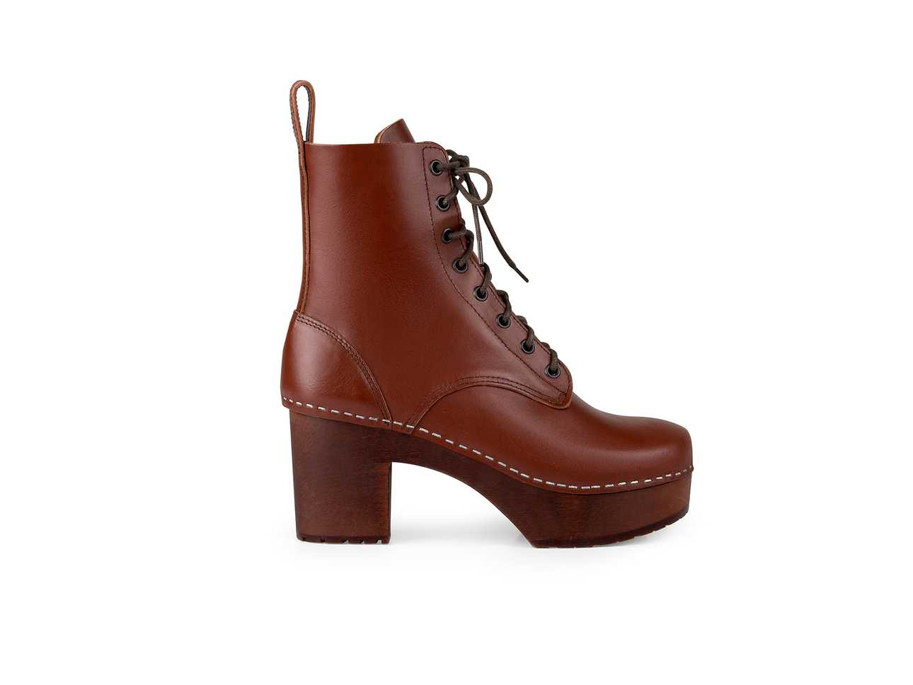 Lace Up Plateau Cognac/Cognac