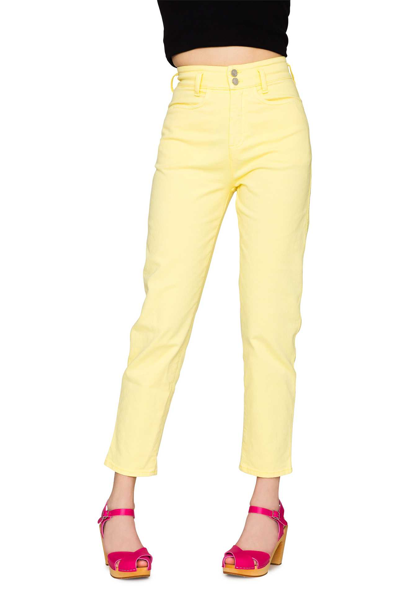 Mom Jeans Denim Pastel Yellow