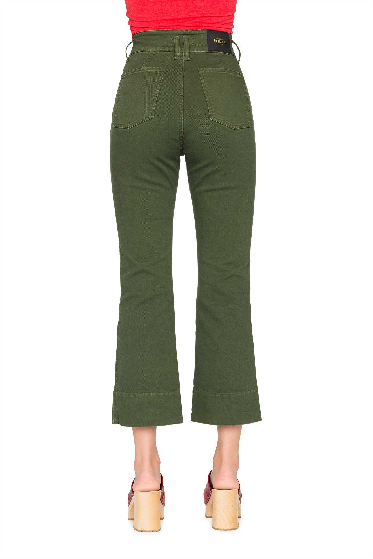 Short Boot Cut Pants Denim Military Green
