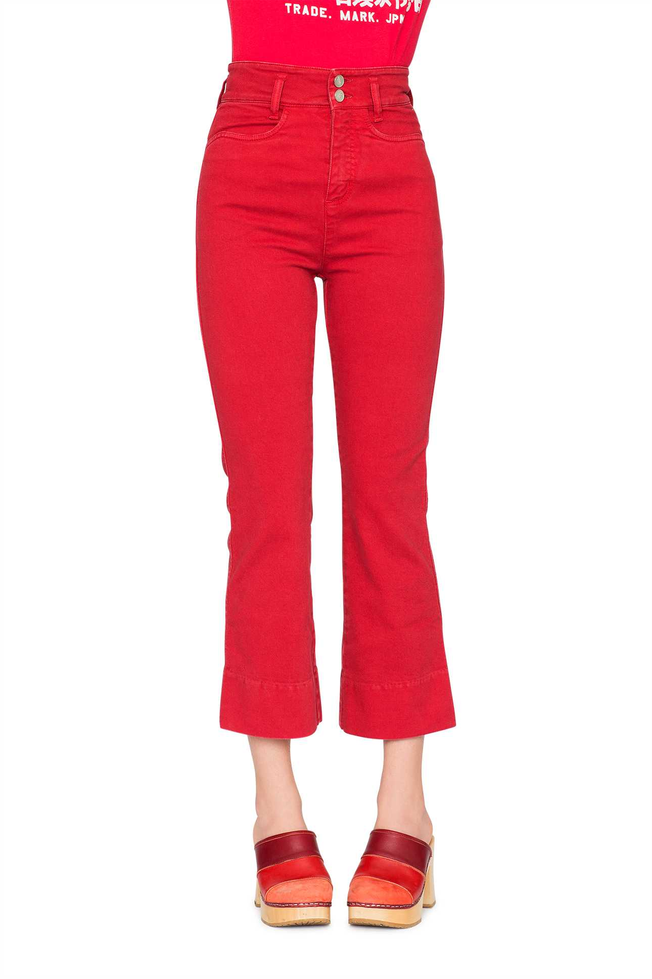 Short Boot Cut Pants Denim Dark Red