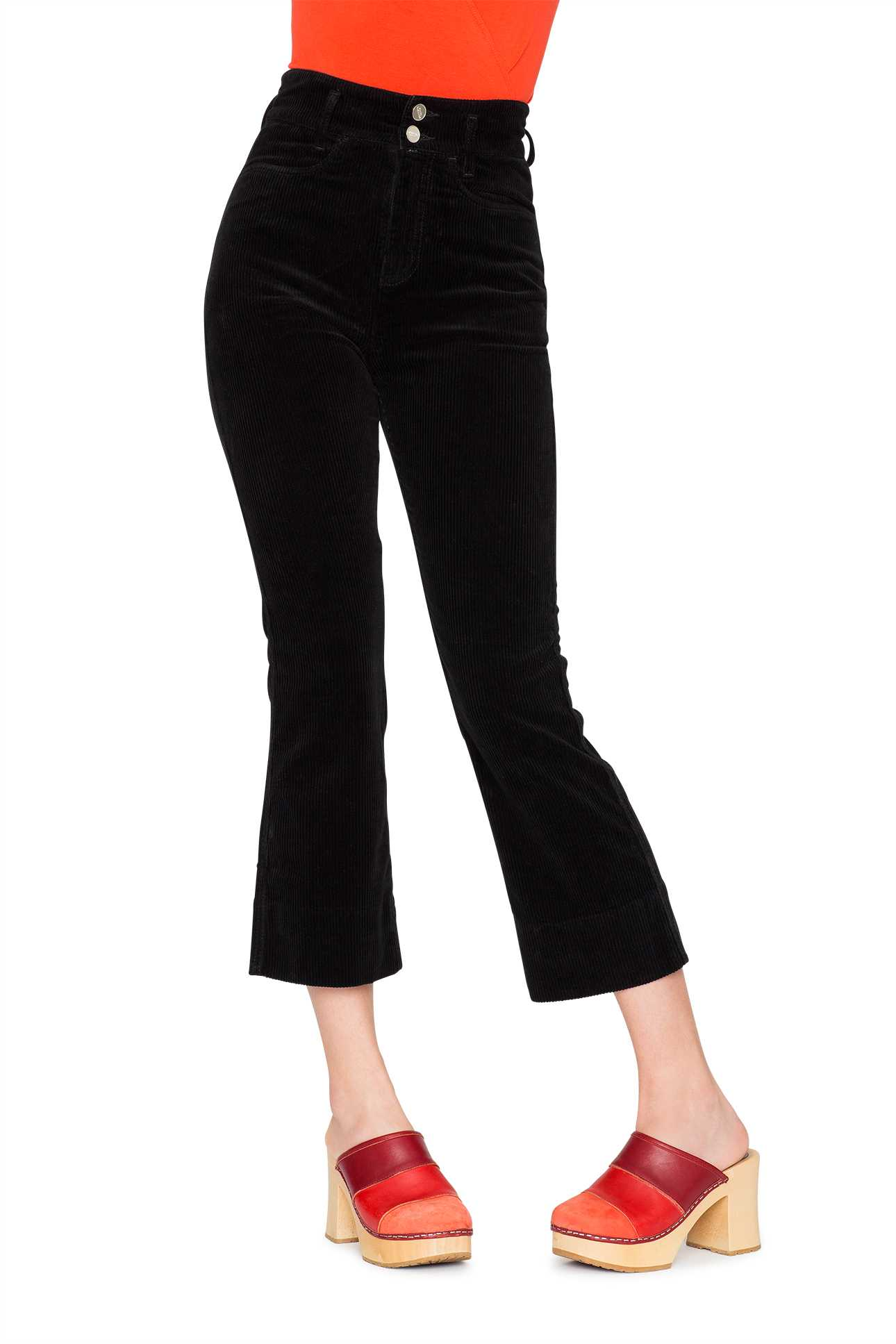 Short Boot Cut Pants Cord Black