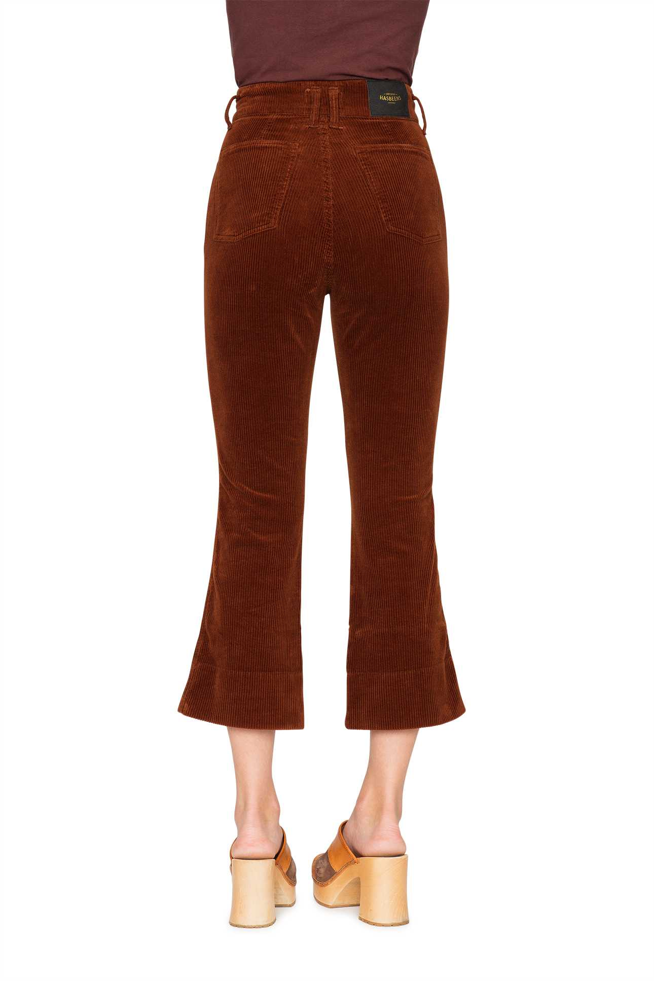 Short Boot Cut Pants Cord Warm Brown