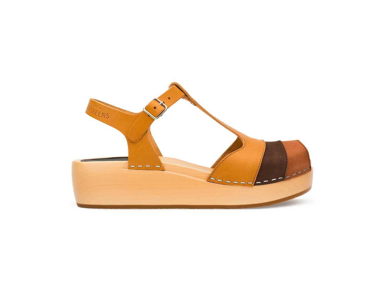 90's T-Strap Wedge Brown Nubuck Color Combo