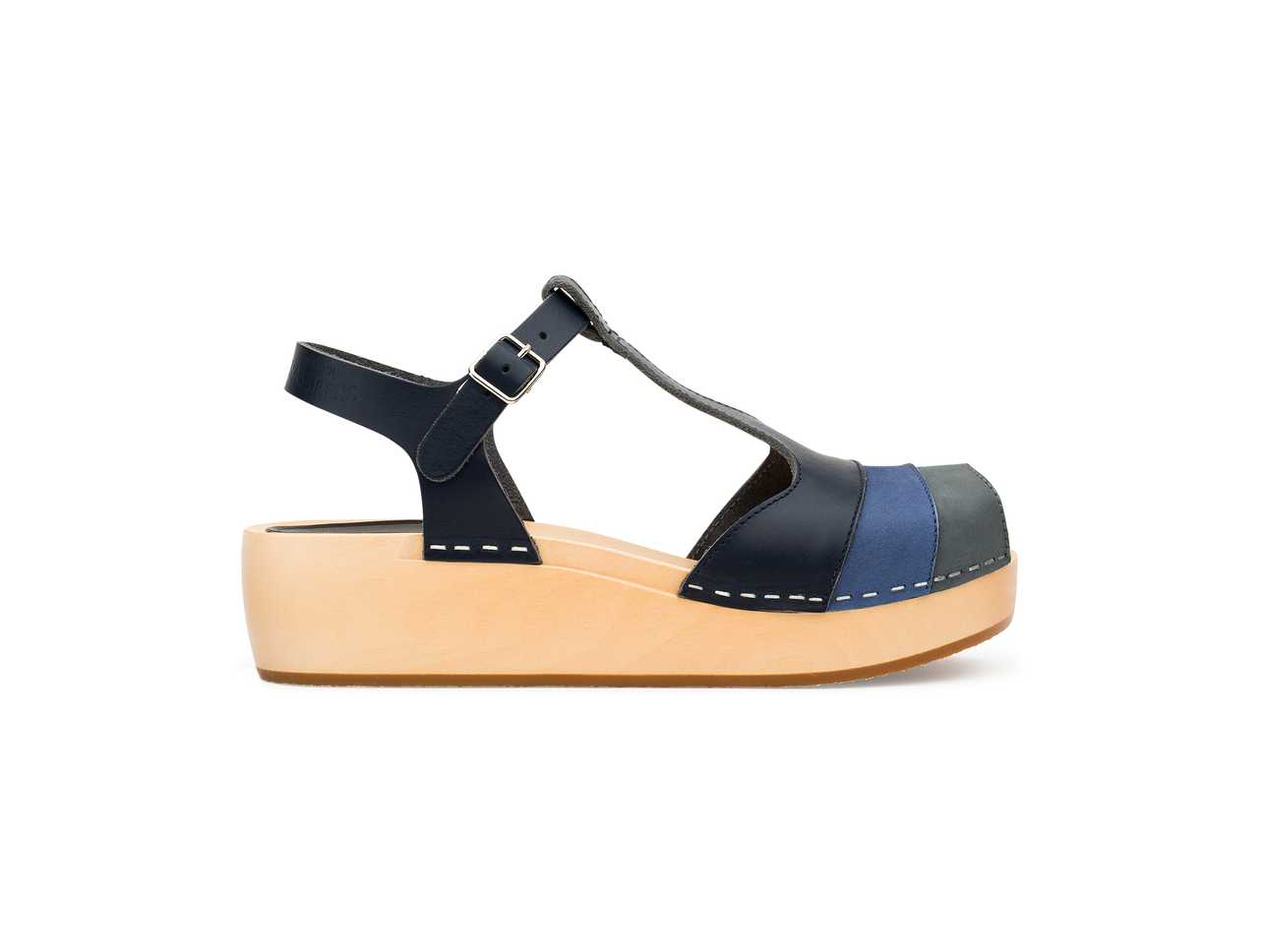 90's T-Strap Wedge Blue Nubuck Color Combo