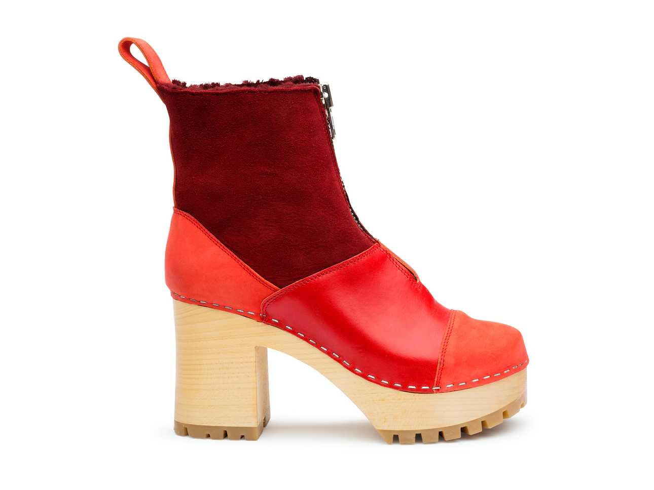 Grunge Boot Shearling  Red Nubuck Color Combo