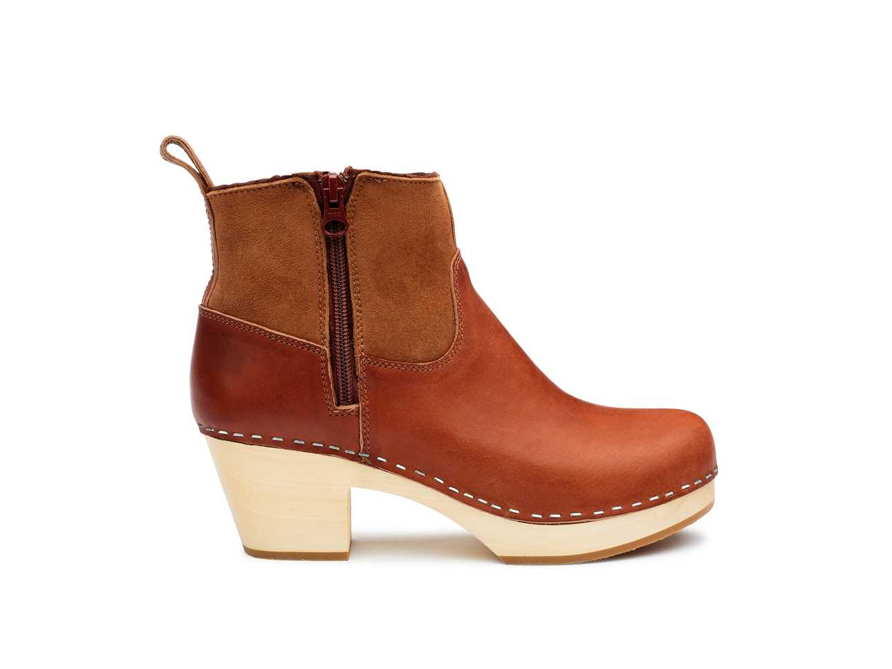 Zip it Shearling Boot Cognac