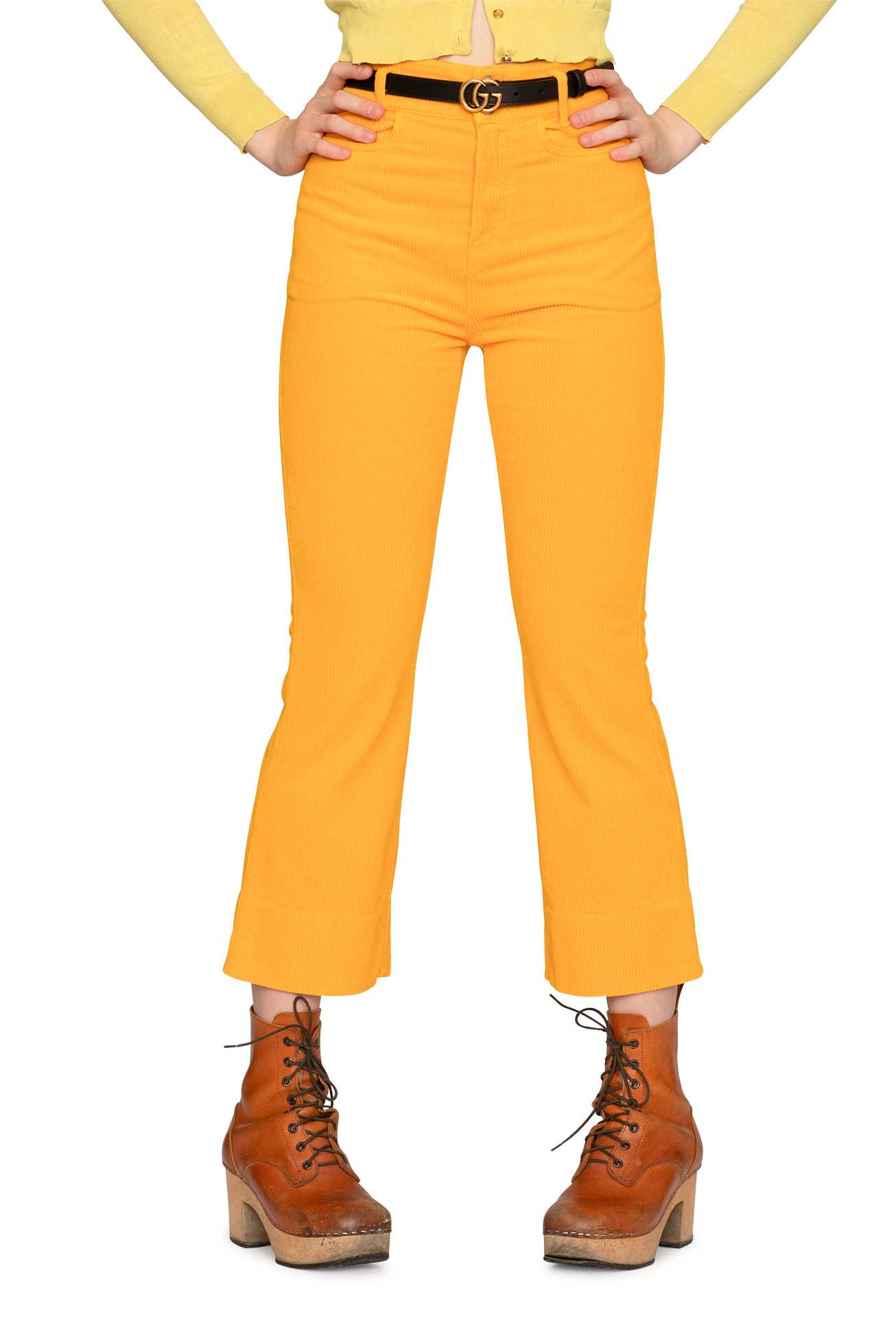 Short Boot Cut Pants Cord  Warm Yellow