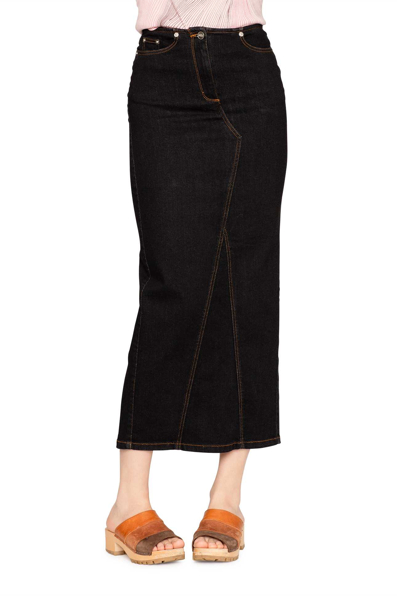 Long Skirt Denim Mid Black Wash