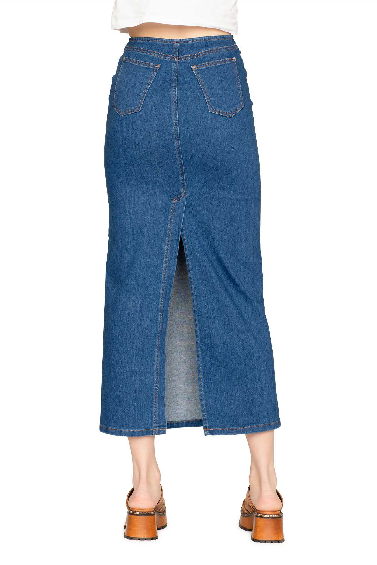 Long Skirt Denim Mid Blue Wash
