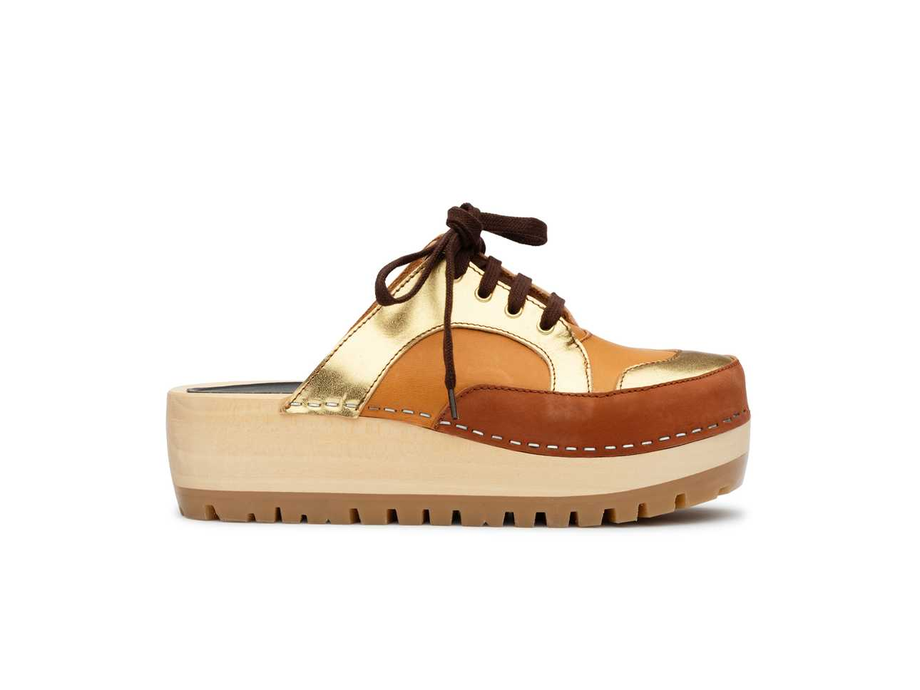 Sneakers Clog Cognac nubuck / Gold color combo