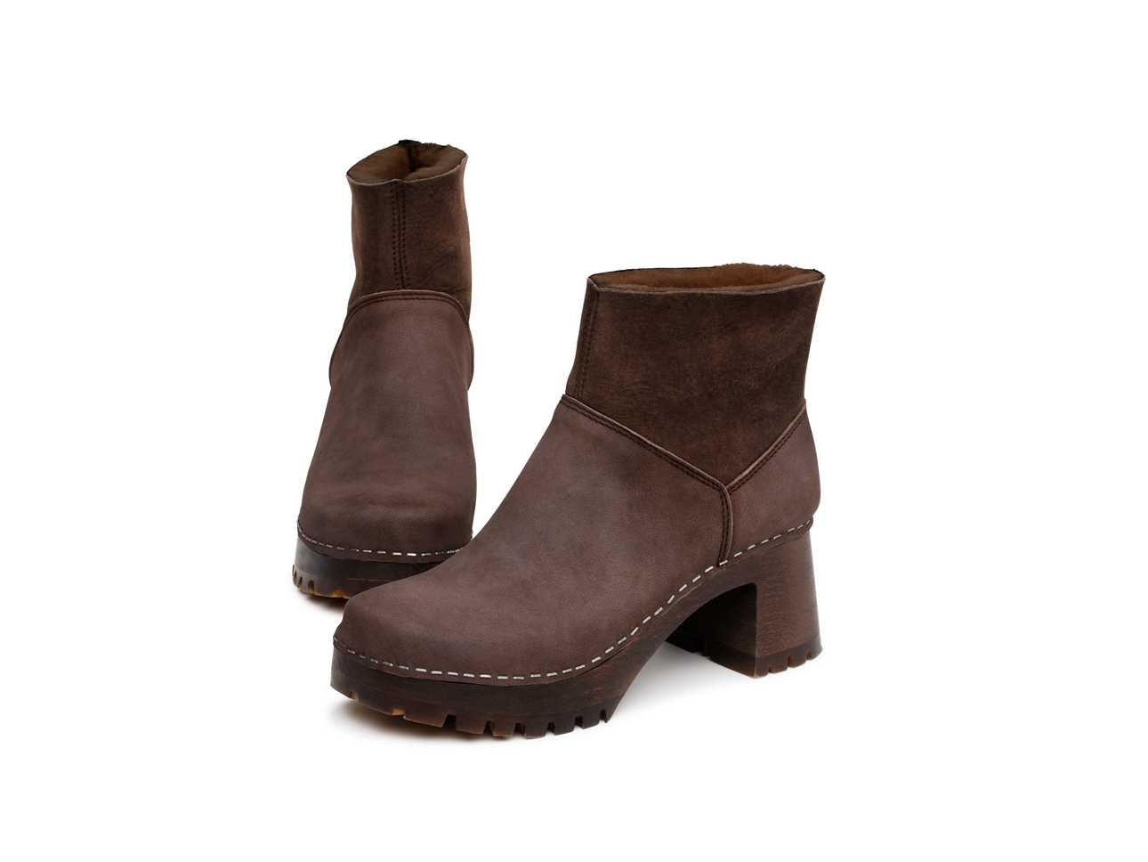 Slip On Bootie Brown Shearling/Chocolate Nubuck